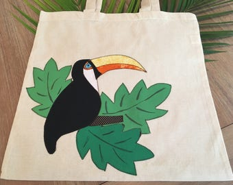 Toucan Canvas Tote Bag-Library, Beach Bag Groceries