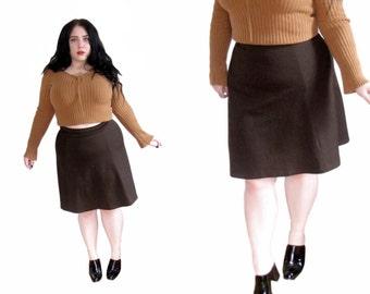 Plus Size Skirt l Vintage 1970's Brown Circle Skirt l Size XL l Vintage Skirt