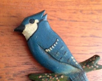 Antique Hand Painted & Carved Wood Folk Art Bird Pin