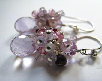 AAA Pink Amethyst Earrings, Spinel, Topaz, Rhodolite Garnet, Quartz, Semi-Precious Gemstone Cluster, Sterling Silver, Ready to Ship Gift Box