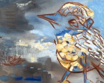 Blue Bird Print, 8x8