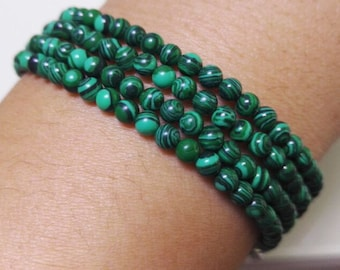 charm bracelet, 4 mm green malachite beads bracelet