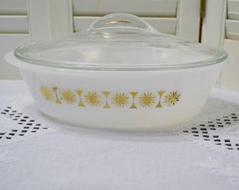 Vintage Oval Milk Glass Casserole with Lid Gold Star Snowflake Unmarked Retro Kitchen Cookware PanchosPorch