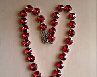 12mm Red Swarovski CrystalTennis Necklace in a  Rhodium Plated Setting