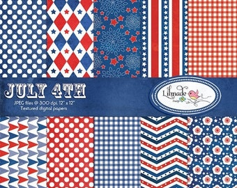 50%OFF July 4th textured digital papers, Independence Day scrapbook paper, Americana digital papers, commercial use, P168