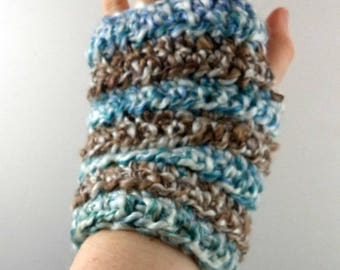 Blue, Green, and Tan Striped Crocheted Wrist Warmers (size M-L) (SWG-WW-MH20)