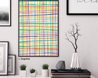 Colorful Lines, Geometric Print, Printable Wall Art, Abstract Poster, Gingham, Home Decor, Graphic Design, Rainbow Colors, Digital Download