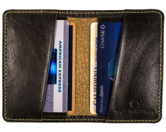 Slim Green leather wallet -  thin leather wallet for men and women, fits 12 cards and cash folded - Made in Los Angeles.