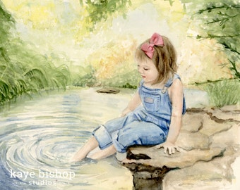 Feet in the Water 8x10 Watercolor Painting Giclee Print - Peaceful Feet in the Water