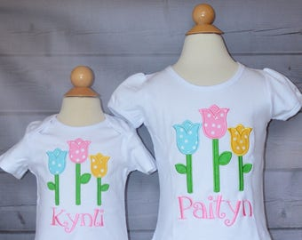 Personalized Tulips Applique Shirt or Bodysuit Girl