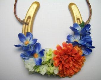 Decorated Horseshoe Gold, Home Decor, Horseshoe Wreath, Home & Living, Lucky Horseshoe