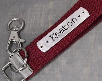 Custom Key Fob, Name Key Chain, Personalized Key Chain, Custom Key Chain, Hand Stamped Key Chain, Handstamped KeyChain,
