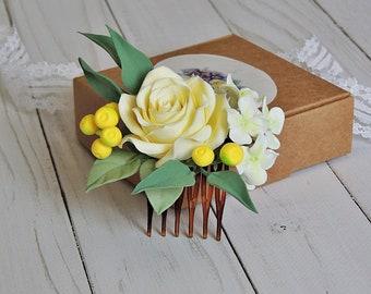 Decorative comb, bridal comb, hair comb, flower comb, hair decoration, hair accessories, Accessories