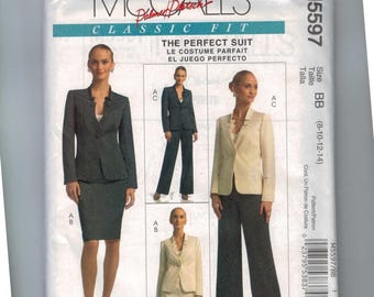 Misses Sewing Pattern McCalls M5597 5597 Perfect Suit Skirt Pants Jacket Fitted Size 8 10 12 14 UNCUT