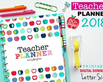 2018 Teacher Planner, PDF Printable Pages, Inserts - January 2018-December 2018, Lesson Planner, Calendar, Teaching, Australia
