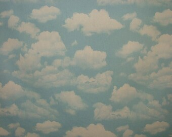 Sky Blue Cloud 100% Cotton Fabric - Curtain Upholstery Blinds Baby Nursery Use