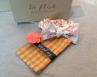 Peach, Orange, grey and cream bow tie and pocket square dapper box set