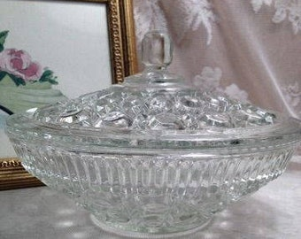 Federal Glass Button & Cane Pattern Candy Dish