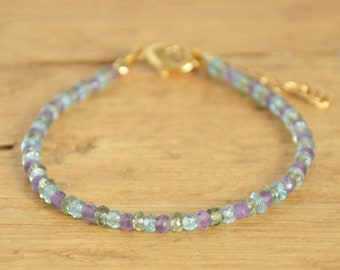 Dainty Gemstone Bracelet - Stackable Bracelet - Delicate Bracelet - Multi Color Bracelet - Motivational Gift For Her - February Birthstone