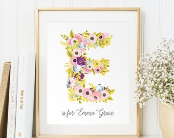 Baby girl gift, Personalized printable, Baby name wall art, Baby girl name sign, Name print, Nursery letters girl, Wall decor Name art, PDF