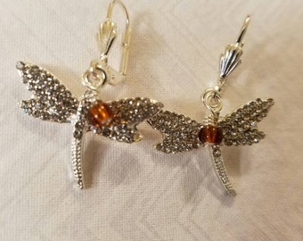 Dragonfly and Amber Bling Earrings Silvertone