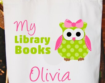 Library Books Tote Bag  Girls Bag White Cotton Tote Bag -   Any wording