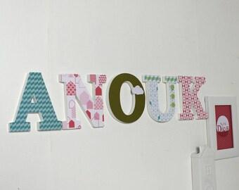 Vornamen ANOUK skandinavischen Stil - Geschenk Mädchen - dekorative Buchstaben - mylittledecor