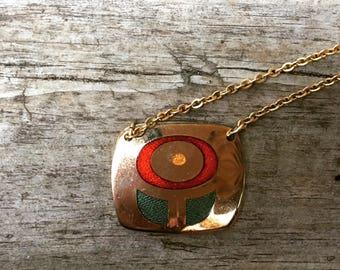 dePassille-Sylvestre Flower Pendant on Gold-tone Chain