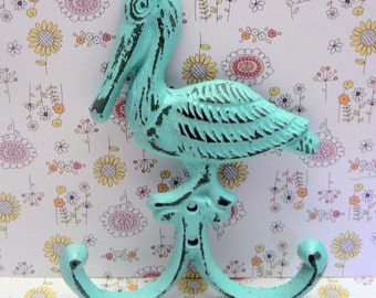 Pelican Cast Iron Wall Hook Shabby Chic Cottage Chic Blue Nautical Beach House Home Decor