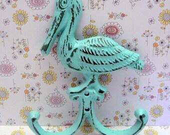 Pelican Wall Hook Shabby Cottage Chic Beachy Light Blue Cast Iron Leash Hat Jewelry Keys Mudroom Nautical Beach Bird