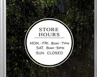 Store hours decal, business hours decals, hours of operation decals, business hours stickers, business hours door signs, custom window decal