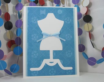 Dress Form Card - white blue - seamstress sewing tailor dressmaker