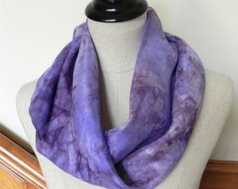 """Large square silk scarf hand dyed lilac and plum purple, Ready to ship, 35"""" square"""