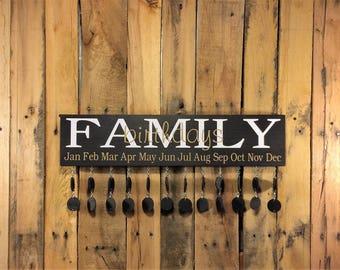 Birthday Sign Board - Birthday Sign Wood - Birthday Sign Custom - Family Birthday Sign- Family Birthday Calendar - Family Celebration Board