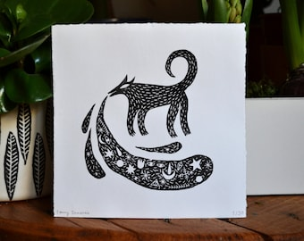 Linocut black and White Wolf