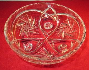 Crystal Candy Dish Star of David Footed Pinwheel