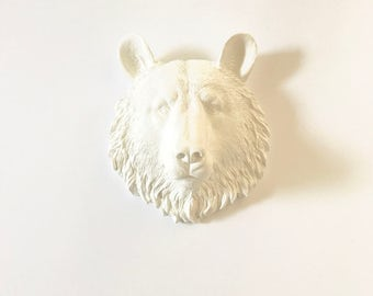 Faux Taxidermy WHITE Small Bear Head wall mount in faux animal head mini bear head faux taxidermie bear wall mount kids room decor office