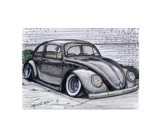 019 1960s VW Beetle Slammed Negative Camber In Color
