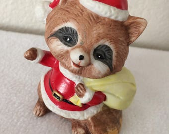 Christmas Raccoon w Bag Porcelain Figurine Stocking Stuffer Gift Homco #5611