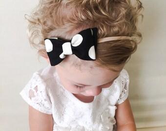 CLEARANCE Fabric Bow Headband - Black Cream Polka Dot Diagonal Bow Headband Clip - Black Polka Dot Bow - Polka Dot Fabric Bow Clip - Nylon