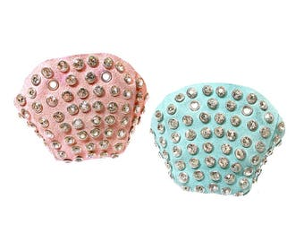 Mismatched Suede/Rhinestone Roller Skate Toe Caps (Any 2 Colors)