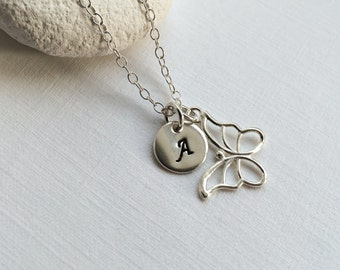 Personalized Butterfly Necklace - Personalize silver necklace, Butterfly Necklace