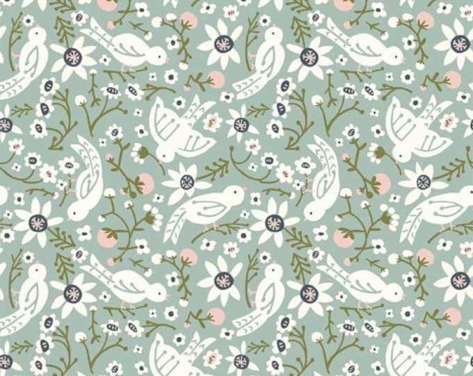 Organic KNIT Fabric - Birch Folkland Knit - Sweet Tweet in Mineral Knit