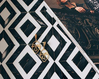 Face earrings, gold earrings, fashion earrings, statement earrings