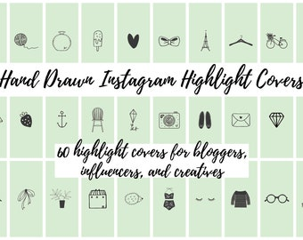 60 Sage Green Hand Drawn Instagram Story Highlight Cover Icons | Fashion, Beauty, Lifestyle, Decor, Craft, Handmade, Bloggers, Influencers