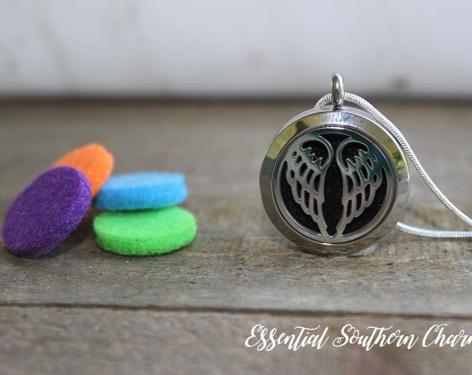 Essential Oil Diffuser Necklace Stainless Steel locket Sterling Silver Chain Angel wings 25mm