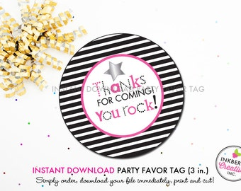 Rockstar Girl (Pink) - Printable 3 inch Birthday Party Favor Tags - Instant Download PDF File