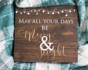 Merry and Bright Wood Christmas Sign HD-43