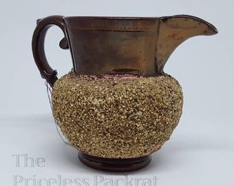 Antique Bronze Lusterware Creamer with Sand Texture