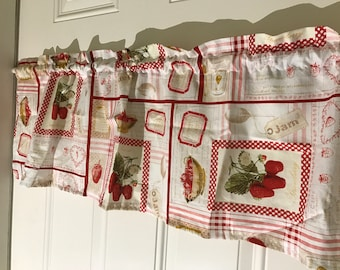 Strawberry Jam Recipe red and tan Kitchen curtain valance